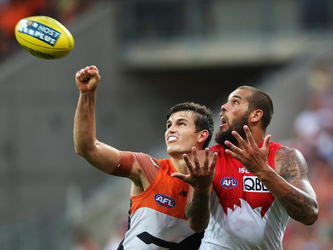 Phil Davis and Lance Franklin are set to play on each other again. Picture: Phil Hillyard