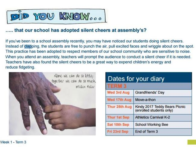 The Elanora public school's newsletter banned clapping out of 'respect' for noise-sensitive students who may now 'punch the air' or do 'silent cheers'. Picture: Elanora Heights Public School