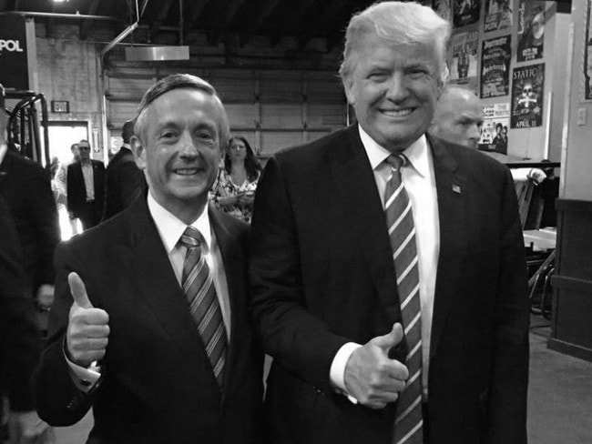 Evangelical pastor Robert Jeffress and US President Donald Trump during the 2016 election campaign.