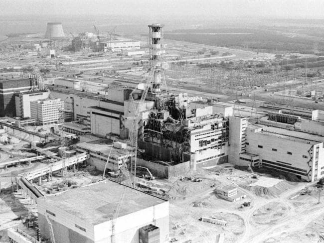 This 1986 aerial view of the Chernobyl nuclear plant in Chernobyl, Ukraine shows damage from an explosion and fire in reactor four on April 26, 1986. Picture: AP
