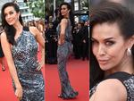 Megan Gale poses on the Cannes 2015 red carpet following her action-woman turn in Mad Max. Pictures: Getty/AFP