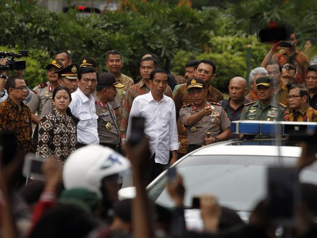 Aftermath ... Indonesian President Joko Widodo visits the scene of a bomb blast in Jakarta. Picture: AAP