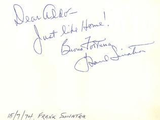 A thank you card left by Sinatra
