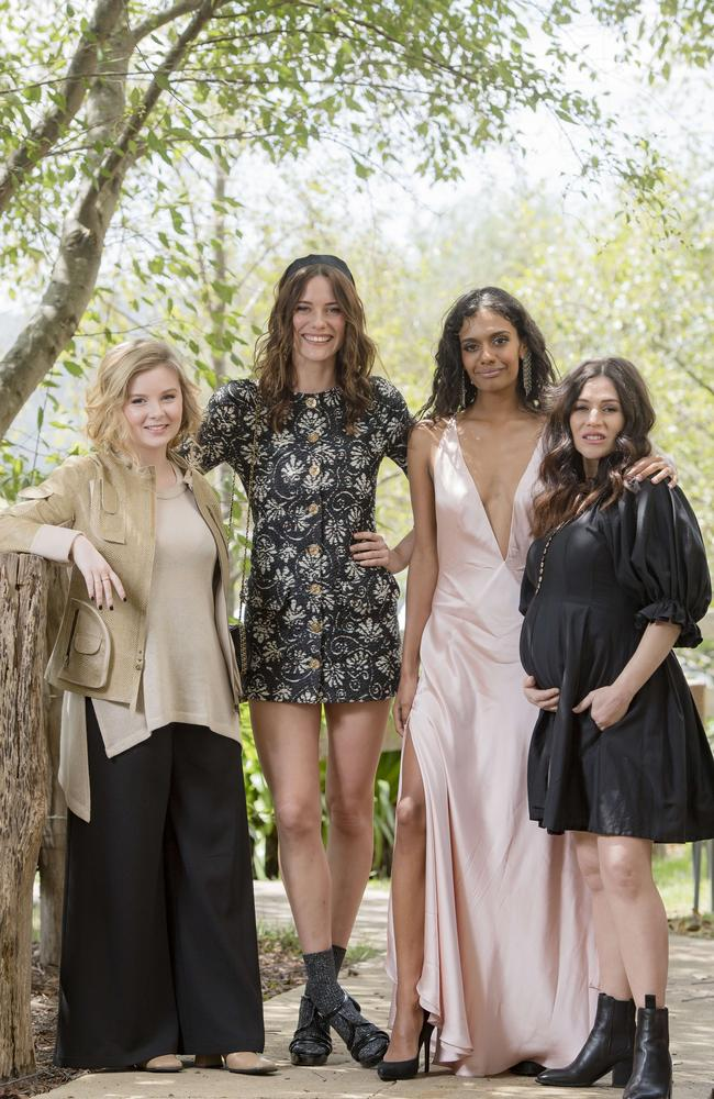The cast of Picnic at Hanging Rock at today's launch. Picture: Jason Edwards