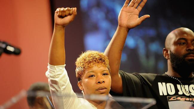 Mother's love ... Lesley McSpadden address the rally in support of her son, Michael Brown at Greater Grace Church in Ferguson, Missouri. Picture: AFP / Michael B. Thomas