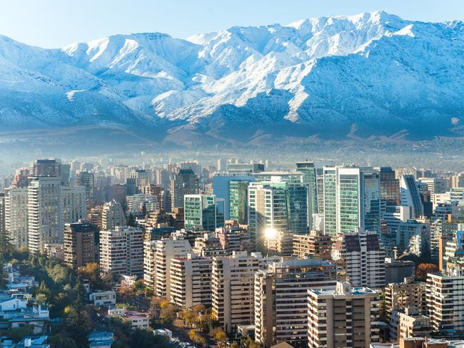 Santiago is dominated by the Andes.