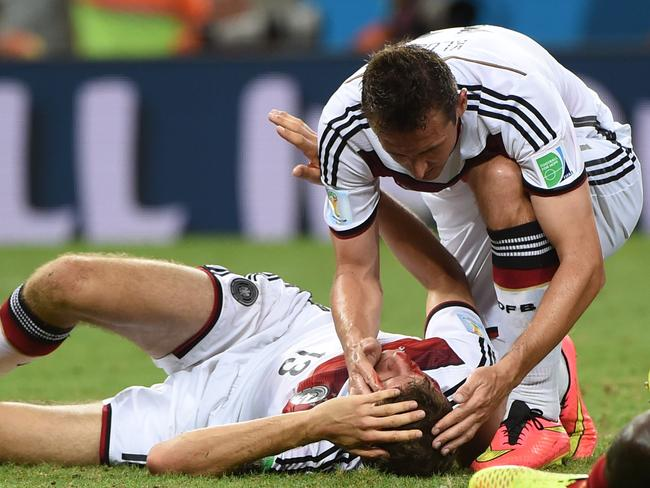 When Germans go down, they're occasionally actually really injured. Sometimes.
