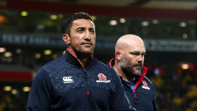 Coach Daryl Gibson and assistant coach Cam Blades of the Waratahs at Westpac Stadium.