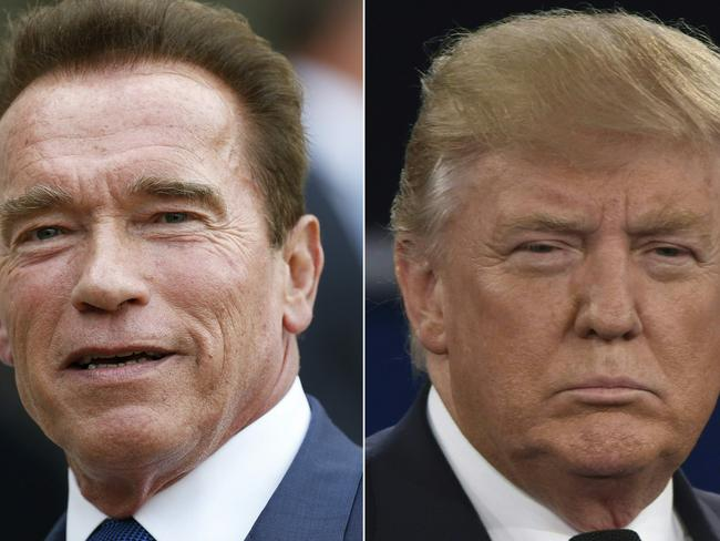 Former governor of California Arnold Schwarzenegger (L) and US President Donald Trump. Picture: AFP