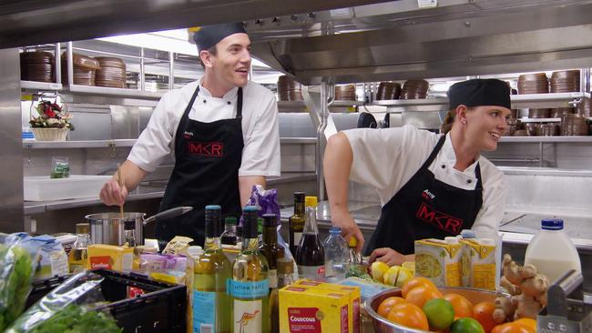 Josh and Amy felt they had an advantage cooking in a ship's galley. Picture: Channel 7