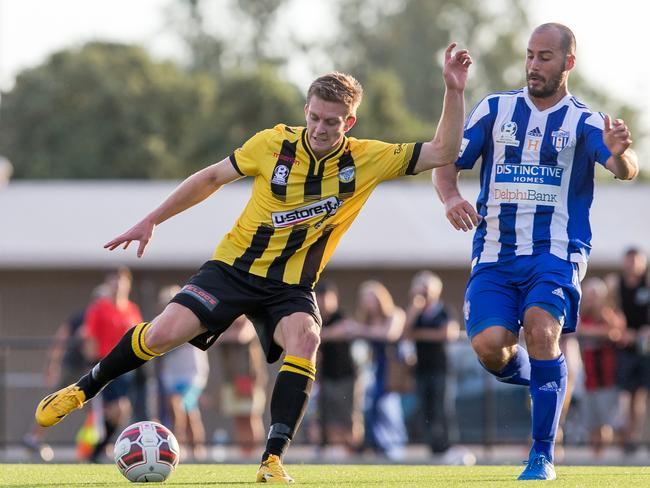 Reds speedster Ryan Kitto in action for SA Premier League club West Torrens Birkalla. Picture: Adam Butler