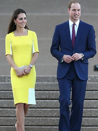 Prince William, Duke of Cambridge and Catherine, Duchess of Cambridge greet the crowds at Sydney Opera House. Picture: Getty Images