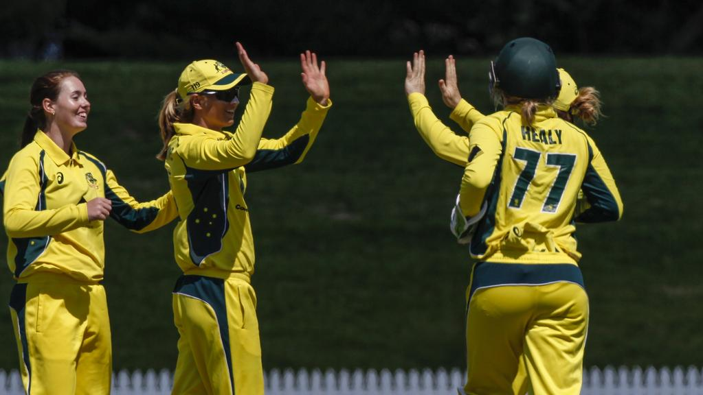 TAURANGA, NEW ZEALAND — MARCH 02: Australian Women's team celebrating an out during the Women's One Day International match between the New Zealand White Ferns and the Australia Southern Stars on March 2, 2017 in Tauranga, New Zealand. (Photo by Mead Norton/Getty Images)