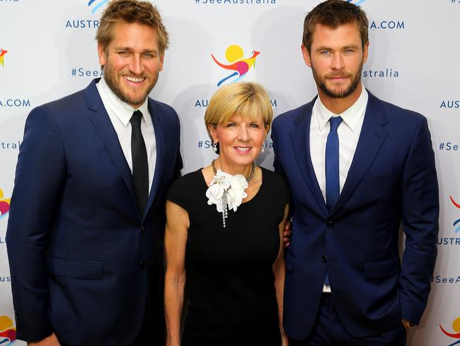 With the boys ... Australian Foreign Minister Julie Bishop with Chris Hemsworth and Curtis Stone at the Tourism Australia Global Premiere in New York. Picture: Nathan Edwards