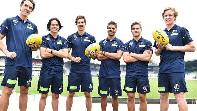 New Blues Harrison Macreadie, Zac Fisher, Tom Williamson, Sam Petrevski-Seton, Cam Polson and Patrick Kerr. Picture: Ellen Smith