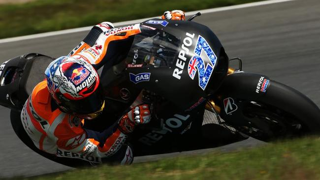 Stoner testing Honda's MotoGP bike in Japan last year.