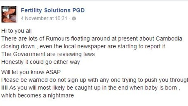 'Cambodia closing down': Ms Davis Charles Facebook post 16 days before her arrest and imprisonment. Picture: Facebook.