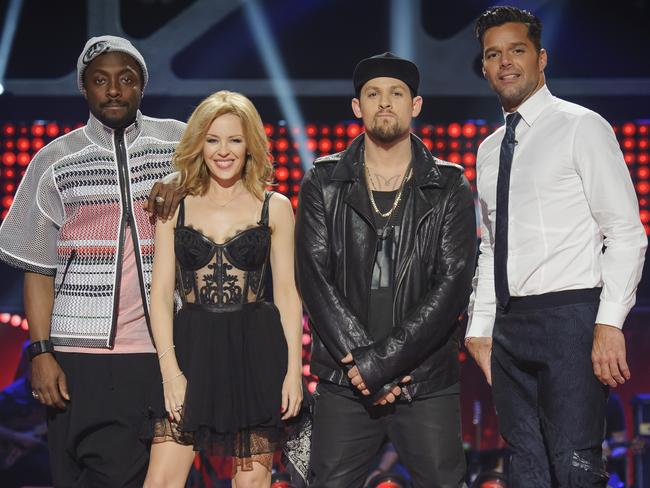 <i>The Voice</i> judges: will.i.am, Kylie Minogue, Joel Madden and Ricky Martin.