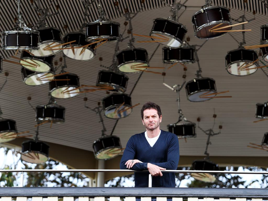 Artist Anri Sala with his artwork, The Last Resort, at the Rotunda on Observatory Hill, Sydney. Picture: Hollie Adams