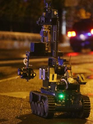 A robot was also used at the scene. Picture: Yuri Kouzmin