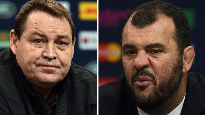 """(FILES) This combo of file pictures shows Australia's head coach Michael Cheika (R) talking during a press conference on October 31, 2015 at Twickenham stadium, in southwest London and New Zealand's head coach Steve Hansen (L) during a press conference on October 30, 2015 at London's Twickenham Stadium. Michael Cheika on June 21, 2016 accused New Zealand's Steve Hanson of taking a cheap shot with his """"shallow"""" suggestion the Australian was letting England mentor Eddie Jones bully him. / AFP PHOTO / PAUL ELLIS AND GABRIEL BOUYS"""