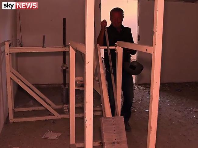 Gym equipment was turned into a torture device. Picture: Sky News