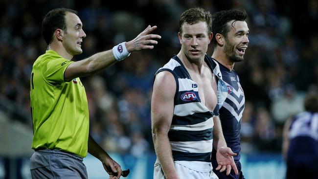 Steve Johnson had plenty of attention during Geelong's win over Fremantle. Picture: Colleen Petch.