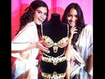 """Victoria's Secret Fashion Show 2013: Angel Sara Sampaio posts, """"Me and Lais Raibeiro trying to steal the million dollar bra! Sorry Candice!"""" Picture: Instagram"""