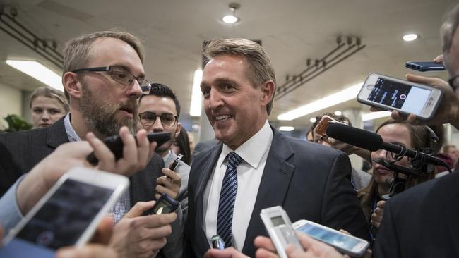 Senator Jeff Flake declared his own party to be complicit in the Trump administration. Picture: AP Photo/J. Scott Applewhite