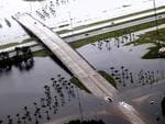 The exits off of I-10 in Slidell, Louisianna are flooded in the aftermath of Isaac. Picture: AP