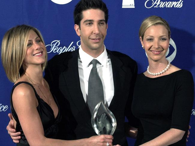 Award-winning ... Jennifer Aniston, David Schwimmer and Lisa Kudrow at the People's Choice Awards in 2001. Picture: Supplied