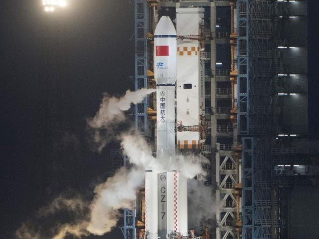 China has launched its first unmanned cargo spacecraft on a mission to dock with the country's space station. Picture: AFP/Fred Dufour