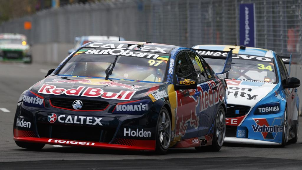 Shane Van Gisbergen leads during practice.
