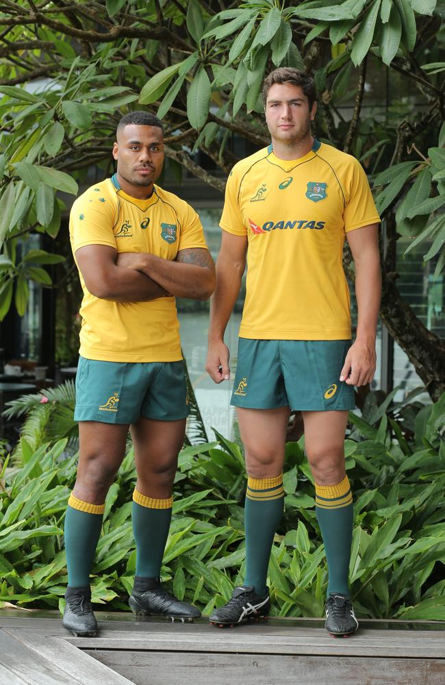 Wallabies Samu Kerevi and Rob Simmons ahead of the June Test series. Picture: Mark Cranitch.