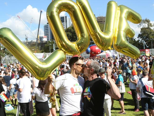 LGBT people assembled in Prince Alfred Park, Sydney to hear the results of the postal plebiscite on whether same sex couples should be allowed to marry. Picture: Richard Milnes/MEGA