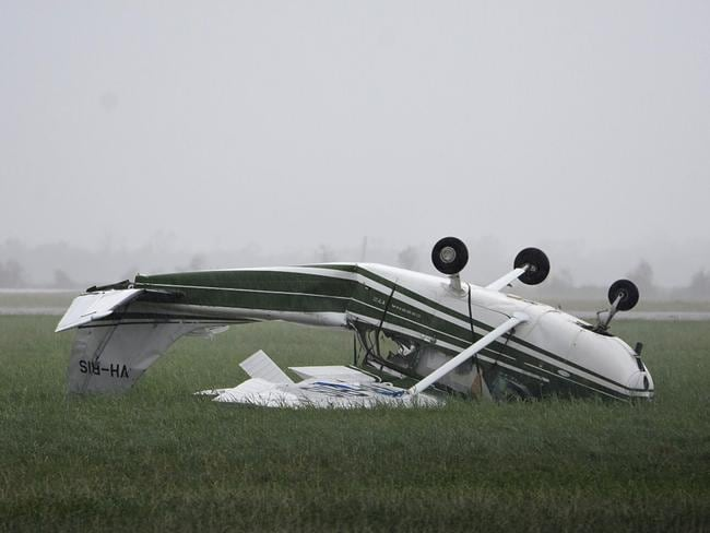 A plane flipped at Bowen Airport. Picture: Sarah Motherwell/AAP