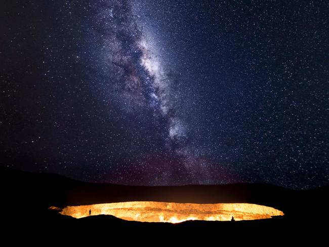 Heaven meets hell as the milky way ascends over the Darvaza gas crater in the Karakom desert, Turkmenistan. Picture: Tino Solomon