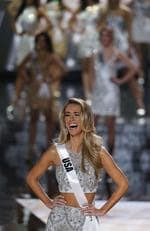 Mis USA Olivia Jordan reacts after she makes the final 15 at the Miss Universe Pageant. Picture: AP