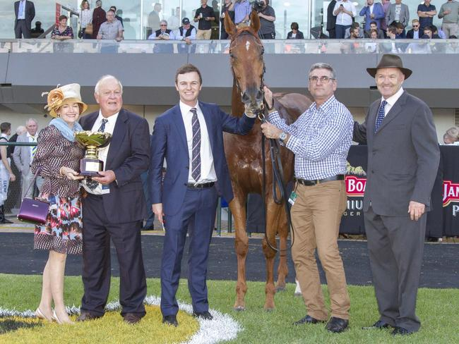 A-team: Winning connections Maureen and Wally Daly, co-trainer Ben Hayes, Adelaide stable foreman Bill Papazaharoudakis and co-trainer David Hayes. Picture: Atkins Photography