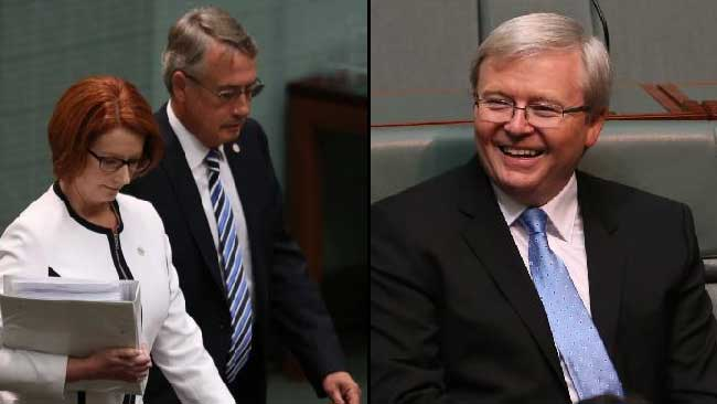 March 2013: Julia Gillard and Wayne Swan arrive for Question Time in Parliament, where the PM announced the Labor leadership would be put to a vote. Kevin Rudd is expected to run.