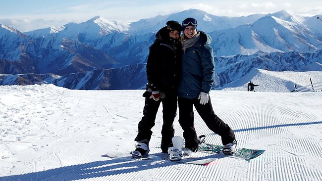 Lara Bingle and her guide Hayley Holt at Coronet Peak near Queenstown in New Zealand. Picture: Supplied