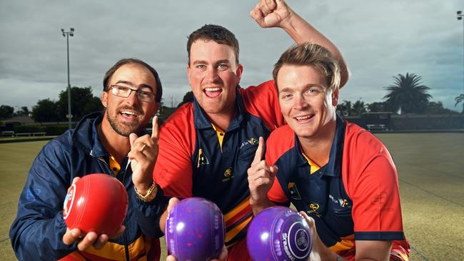 Mark Haines, Max Kleinig and Matthew Northcott were part of the SA team that won the Australian Sides Bowls Championships for the first time in 29 years. Picture: Tom Huntley