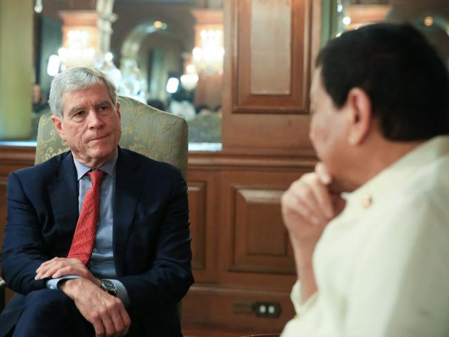 Mr Warner met Duterte in Manila on Tuesday. Picture: Twitter/People's Television @PTV