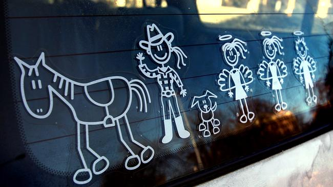 My family stickers seen on a Landcruiser.