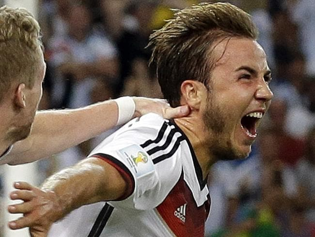 Germany's Mario Goetze celebrates after scoring the winning goal during the World Cup final against Argentina.