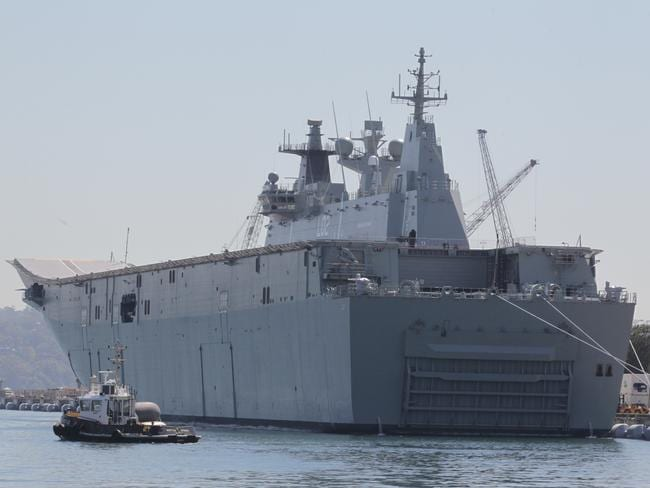 Business end ... the massive door which opens to an internal dock capable of deploying landing craft carrying tanks is what the Landing Helicopter Dock (LHD) Canberra is all about. Source: NewsCorp.