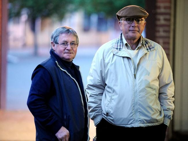 Pat Hyland, with Lloyd Williams at Breakfast with the Best at Moonee Valley in 2008, is worried the toes-in-the-irons style used by riders such as Glen Boss is increasing the likelihood of bad falls. Picture: Jay Town