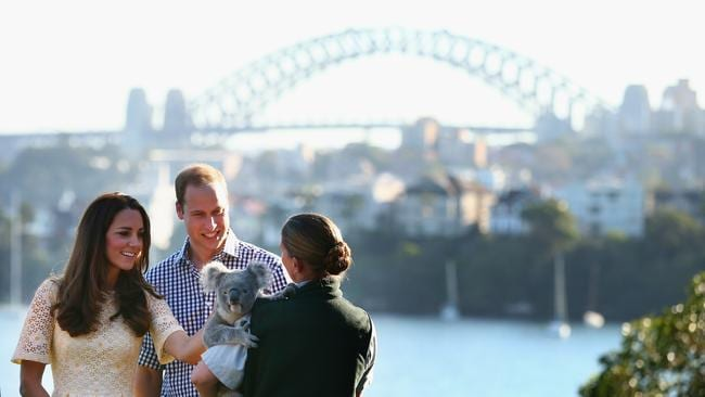 The Duke and Duchess of Cambridge meet a koala at Taronga Zoo. Picture: Getty