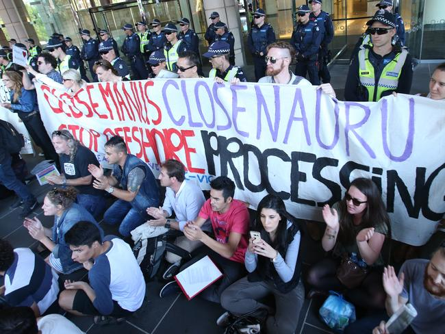 Speaking out ... protesters held a 'Let Them Stay' rally held in front of the state library in Melbourne. Picture: AAP Image/David Crosling