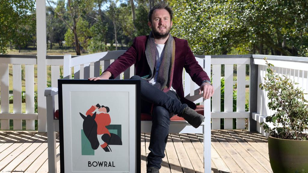 Artist Alan Walsh at his Bundanoon home with his favourite things — a screen print for his Bowral gallery. Pictures: Simon Bullard
